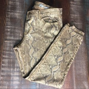 NY & CO low rise skinny ankle animal print jeans